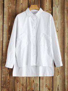 Side Lâche Slit High-Low Shirt - Blanc 3xl