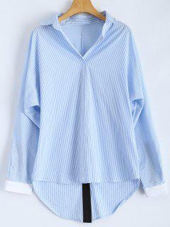 Loose Striped Slit Shirt - Blue And White L