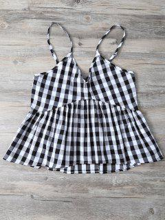Checked Ruffles Cami Tank Top - White And Black S