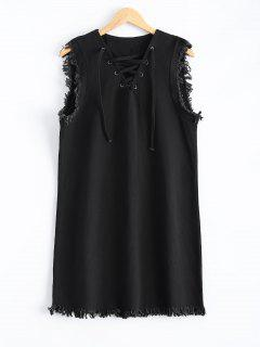 Lace-Up Fringed Dress - Black S