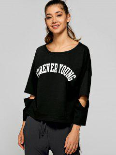 Split Sleeve FOREVER YOUNG T-Shirt - Black S