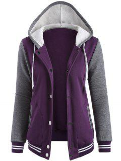 Varsity Baseball Fleece Hoodie Jacket - Purple M