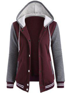 Varsity Baseball Fleece Hoodie Jacket - Wine Red L