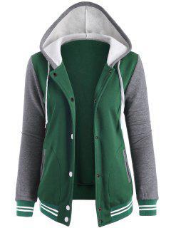 Varsity Baseball Fleece Hoodie Jacket - Green S