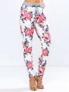 Impresión Floral Del Lazo Estrecho Pantalones Pies - Floral S