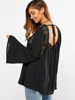 Baggy Lace Spliced ​​Blouse - Noir S