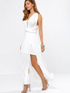 Convertible High Slit White Evening Dress - White S