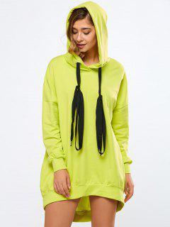 Neon Color Long Boyfriend Hoodie - Fluorescent Yellow M