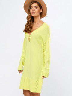 V Neck Slit Sweater Dress - Yellow M