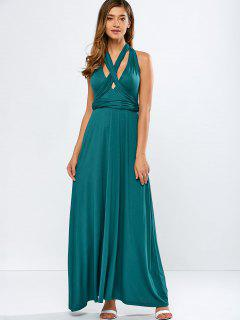 Convertible Backless Formal Maxi Dress - Blackish Green S
