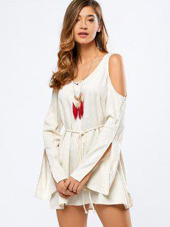 Cold Shoulder Split Sleeve Dress - Off-white L