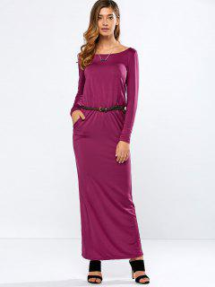 Maxi Belted Dress - Purple S