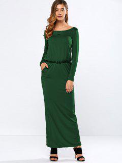Maxi Vestido Con Cinturón - Verde S