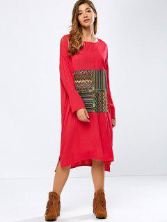 Embroidered High-Low Dress - Red Xl
