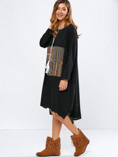 Vestido Bordado De Mayor A Menor - Negro L