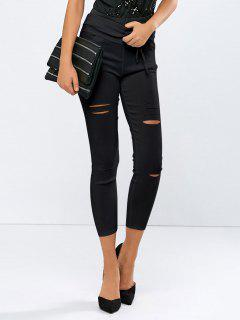 Ripped Skinny Ninth Pants - Black S