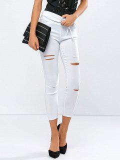 Rasgados Flaco Novenos Pantalones - Blanco S