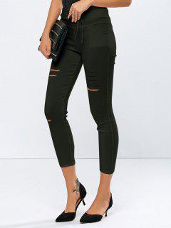 Ripped Skinny Ninth Pants - Army Green S