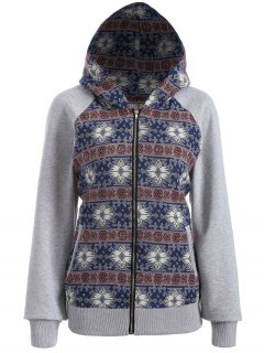 Zip Up Jacquard Tribal Hoodie - M