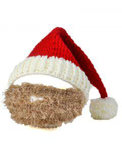 Christmas Crochet Mustache Knitted Beanie - Red