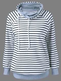 Striped Zipper Decorated Sweatshirt - Stripe M