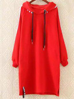 Plus Size Tape Sleeve Hoodie Dress - Red Xl