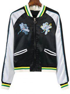Floral Embroidery Souvenir Jacket - White And Black S