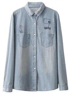 Embroidered Back Denim Shirt - Light Blue S