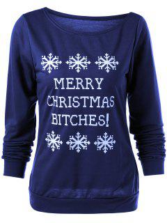 Merry Christmas Snowflake Print Sweatshirt - Deep Blue S