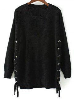 Lace Up Hem Open Stitch Sweater - Black L