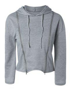 Zippered Cropped Hoodie - Gray S