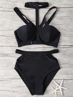 Cami Strappy Cut Out Bikini Set - Black S