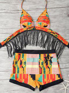 Fringed Printed Cut Out African Print Bathing Suit - Multicolor M