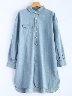 High Low Long Sleeve Denim Shirt Dress - Light Blue