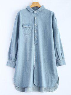 High Low Long Sleeve Denim Shirt Dress - Light Blue