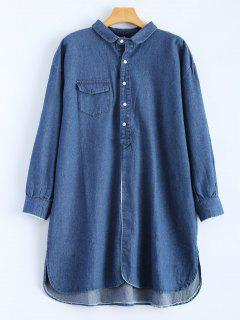 High Low Long Sleeve Denim Shirt Dress - Deep Blue