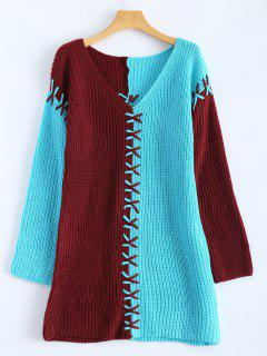 Color Block Raglan Sleeve Sweater - Bleu