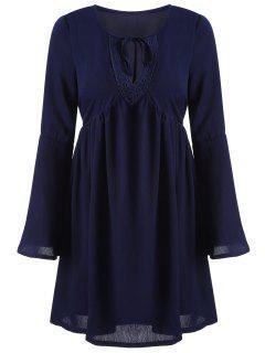 Cut Out A-Line Dress - Cadetblue M