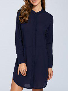 Long Sleeves Straight Button Up Tunic Shirt Dress - Blue S