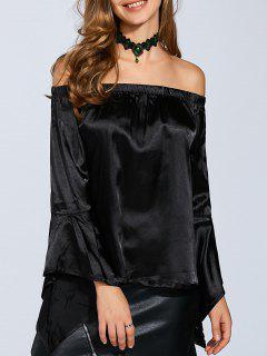 Veste En Velours Avec épaules Dénudées à Manches Brillantes - Noir S