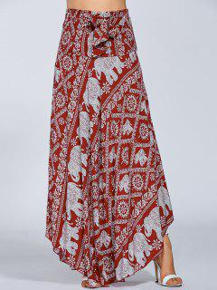 Maxi Boho African Print Skirt - Red