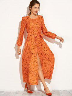 Long Sleeve High Furcal Maxi Dress - Orange S