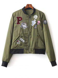 Quilted Patched Bomber Jacket - Green M