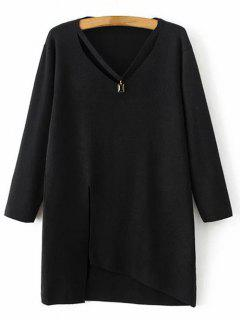 Asymmetric Necklace Sweater - Black