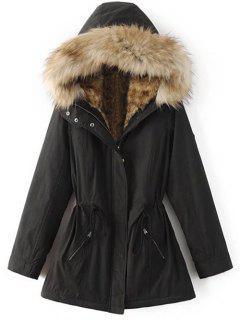 Faux Fur Lined Parka Coat - Black Xl