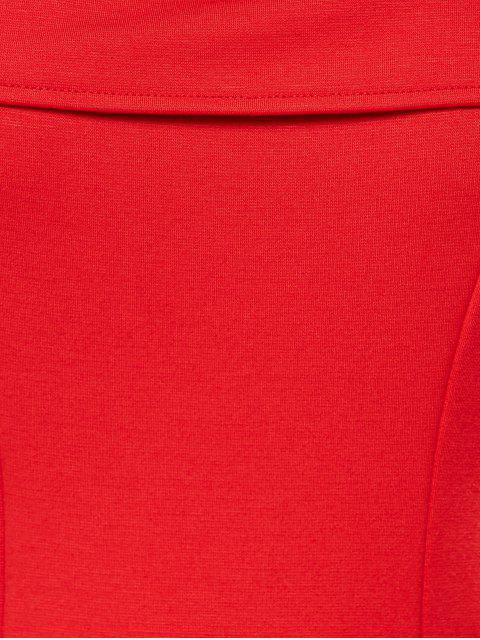 women's Foldover Cold Shoulder A Line Dress - RED L Mobile