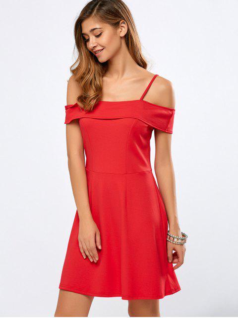 ladies Foldover Cold Shoulder A Line Dress - RED M Mobile