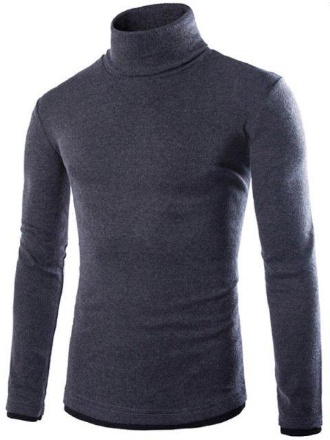 latest Faux Twinset Design High Neck Long Sleeve Knitwear - DEEP GRAY XL Mobile