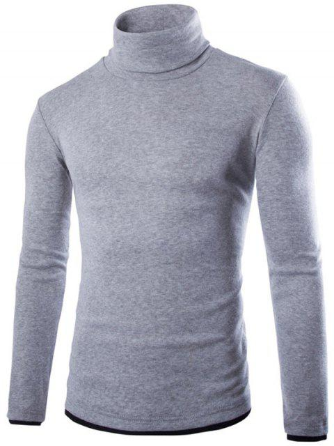 buy Faux Twinset Design High Neck Long Sleeve Knitwear - LIGHT GRAY 2XL Mobile