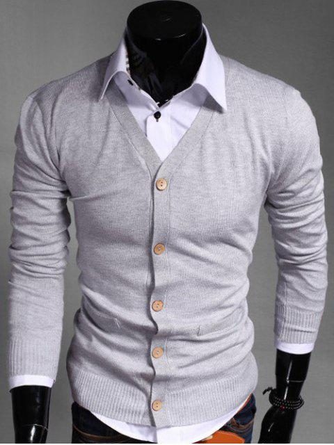 outfit Slimming V Neck Button Up Cardigan - LIGHT GRAY M Mobile